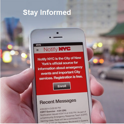 Picture of a phone with Notify NYC App